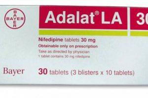 أدالات أقراص Adalat Tablets لعلاج الذبحة الصدرية والجرعة المسموح بها